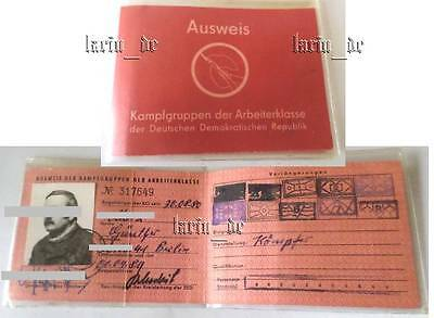 DDR Kampfgruppen Ausweis East german Combat troops fighter Doc ID  Document GDR