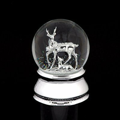 Christmas Reindeer & Fawn MUSICAL Snow Globe/Water Ball WE WISH YOU MERRY XMAS