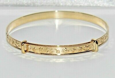 NEW Solid 9ct Gold Embossed Expanding Baby Bangle - UK Hallmarked