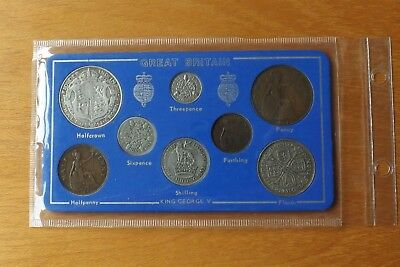 British George V Full Eight Coin Set Farthing-Halfcrown 5 Silver Coins Sandhill