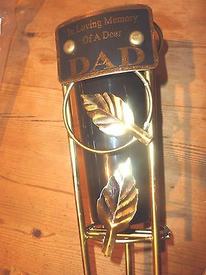 Memorial Sympathy Grave Vase In Loving Memory of DAD black gold weatherproof