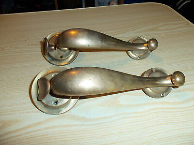 BRASS THUMB LATCH DOOR HANDLE PULL HARDWARE VIntage Salvage Set of 2 Handles #1