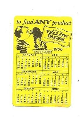 1956 New Jersey Bell Yellow Pages pocket calendar