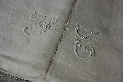 Antique French linen sheet white monogram c1880's linen textile 82X110