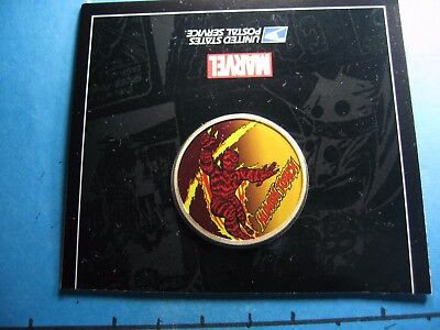 Human Torch Fantastic Four Marvel Enamel Usps Carded Rare 999 Silver Coin #k