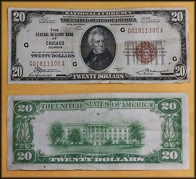 1929 National Currency $20 Note FRB of Chicago - BINo