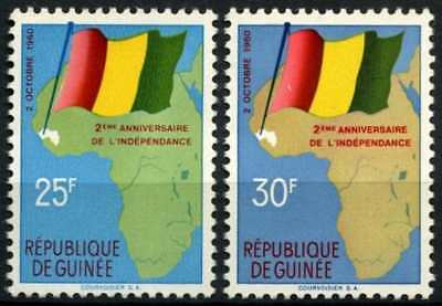 Guinea 1960 SG#253-4, 2nd Anniv Of Independence Flags MNH Set #D58330