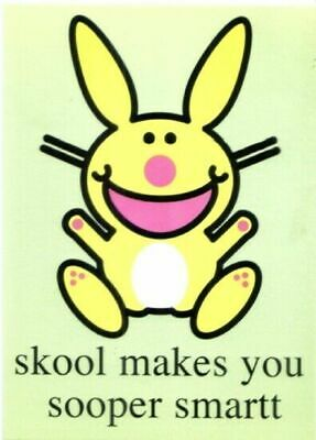 it's Happy Bunny skool makes you sooper smartt Art Postcard 4.25 x 6 NEW UNUSED