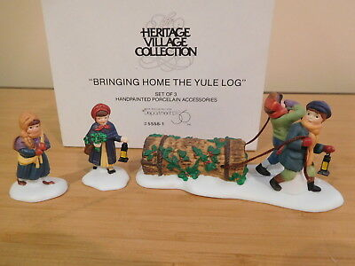 Dept 56 Dickens Village - Bringing Home The Yule Log - Set of 3