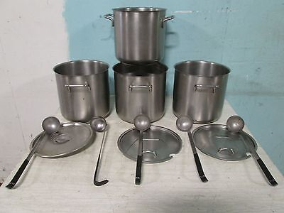 "LOT OF 4 ""SPRING"" SWISS MADE S.S. COMMERCIAL 10QT. POTS, w/ 5 LADLES & 3 LIDS"