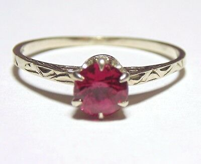 Antique Art Deco 14K Solid White Gold Ruby Solitaire Etched Designs Band Ring