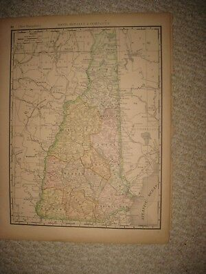 Antique 1890 New Hampshire Railroad Map Concord Dover White Mountains Detialed N