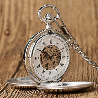 Smooth Silver Hand Wind Mechanical Pocket Watch Roman Numerals Double Hunter