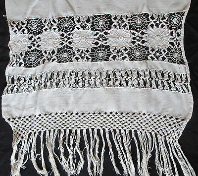 """pristine hand made linen Mexican drawn work towel or runner 32x20"""" plus fringe"""