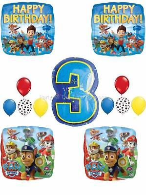 13 Pc PAW PATROL Chase MARSHALL 3RD Birthday Balloons Set THIRD FREE SHIPPING