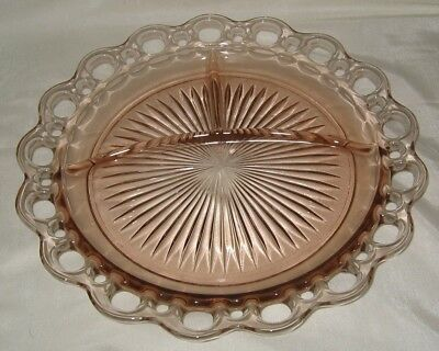 Anchor Hocking Old Colony Open Lace Pink Grill Plate Nick