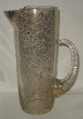MCM West Virginia Glass Gold and White Flecked Martini Pitcher 9""