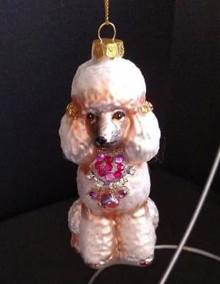 White Poodle Dog Shaped Glass Sparkly Ornament Pink Faux Jewels Robert Stanley