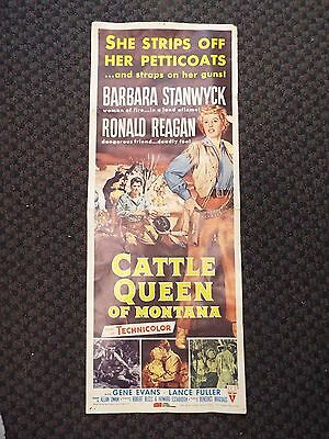 1981 Weiss Globl Repro Movie Poster Signed Ronald Reagan Cattle Queen Of Montana