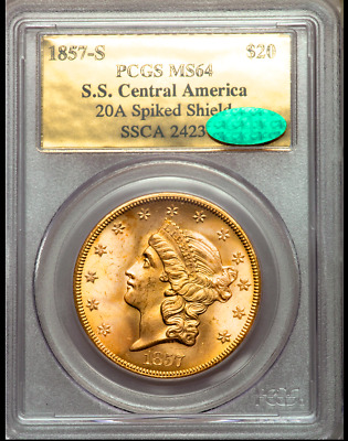 1857-S $20 Liberty Gold Ss Central America Pcgs Ms64 Cac Cartwheel Luster