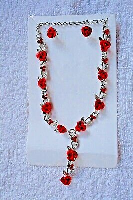 vintage style jewelry set Red roses necklace earrings silver tone