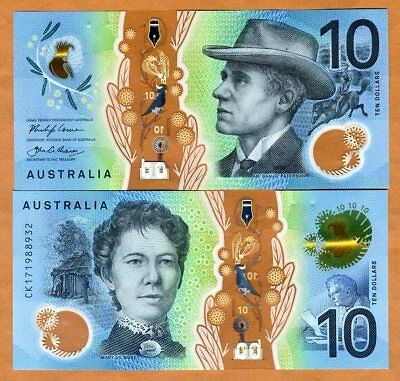 Australia, $10, 2017, P-New, Polymer UNC > Redesigned