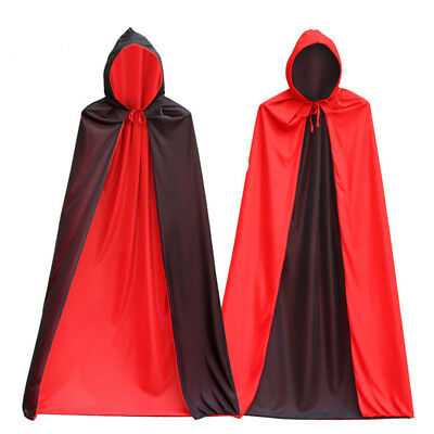 Halloween Costume Adult Hooded Cloak Sided Reaper MasqueradeParty Black Red Grim