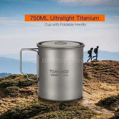 TOMSHOO Ultralight 750ml Titanium Cup Outdoor Portable Camping Water Mug US V1J7