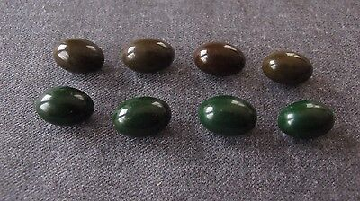8 Antique 1930's Olive Shaped Brown & Green Bakelite Buttons