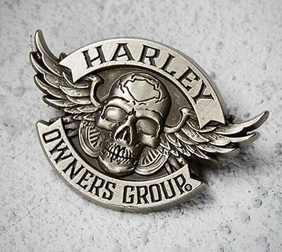Harley Davidson Owners Group Winged Skull Vest Pin  ** New **
