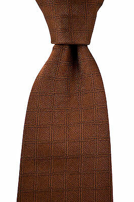 New STEFANO RICCI Italy Handmade Brown Black Geometric Woven Silk Tie MSRP $250