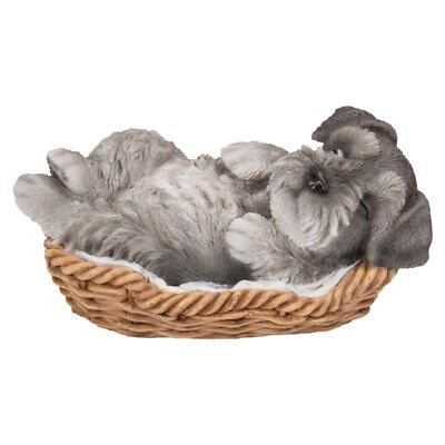 New WICKER BASKET PUPS Figurine Statue SCHNAUZER DOG PUPPY in Bed Sleeping GREY