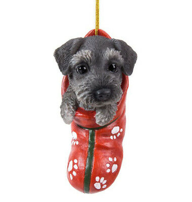 STOCKING PUPS Ornament SCHNAUZER DOG PUPPY Christmas Hanging Decor Figure GREY