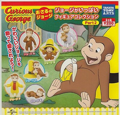 Curious George Gashapon A Lot of George Figure Collection Part 2 Comp Set (6)