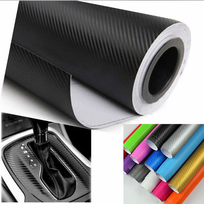 3D Carbon Fiber Matte Vinyl Film Auto Car Sheet Wrap Roll Sticker Decor Black
