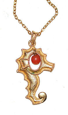 Vintage 18K Gilded Gold Sea Horse Pendant Chain Necklace Coral Bead Drop Sphinx
