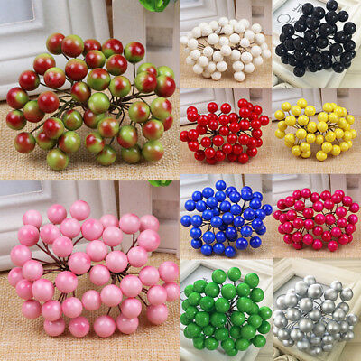40pcs New Simulation Christmas Foam Fruit Artificial Holly Berry Home Decor