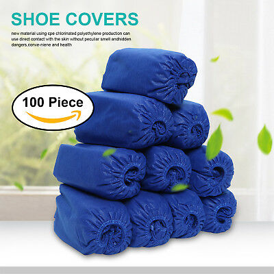 100Pcs Disposable Overshoes, Waterproof Shoe Covers Protectors Blue Ce Uk Free