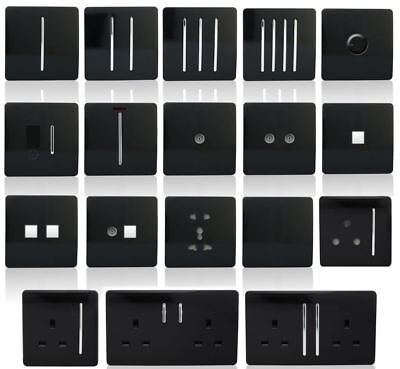 Trendi Switch Piano Black Designer Light switches, Plug Sockets, Fused Spurs, TV