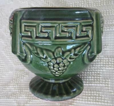 """Brush McCoy Green Greek Key and Grape 8"""" Footed Planter"""
