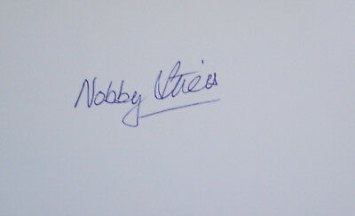England 1966 World Cup Nobby Stiles Signed white card autograph Man United