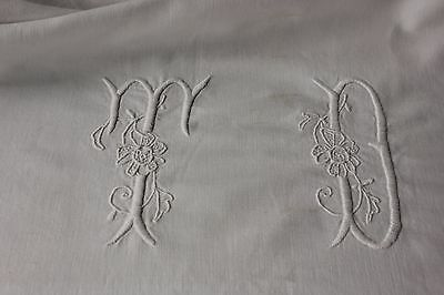 Antique French cotton sheet trousseau 80X123 SOFT metis old TD monogram
