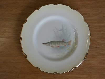 Royal Doulton Hand Painted Pike Plate Signed Wilson jnr c. 1910