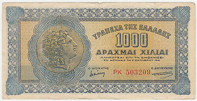 Greece P 117 b - 1000 Drachmai 1941 - Fine+