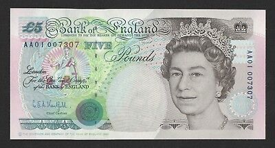 Kentfield Stephenson Five Pound £5 Banknote (1993) AA01 Low Number Unc B363