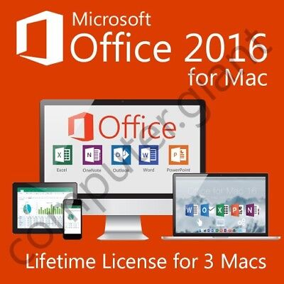 Microsoft Office 2016 For Mac Home & Business - 3 Mac License - INSTANT DELIVERY