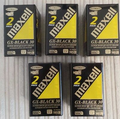 Box Of 12 New And Sealed MAXELL VHS-C Videocassette GX- Black 30