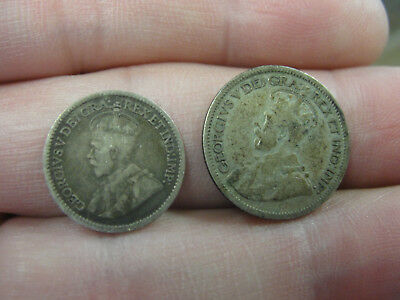 2 Canadian Silver Coins 1929 10 Cents & 1913 5 Cents Canada Nickel Dime Ten Five