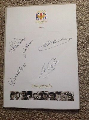 Quipco Champions Day Autograph Sheet.