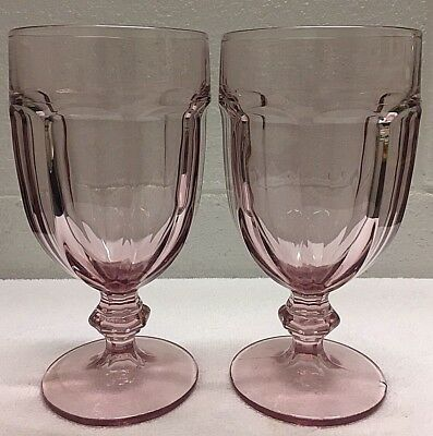 Set of 2 Duratuff USA Libbey Pink Water / Tea Goblets